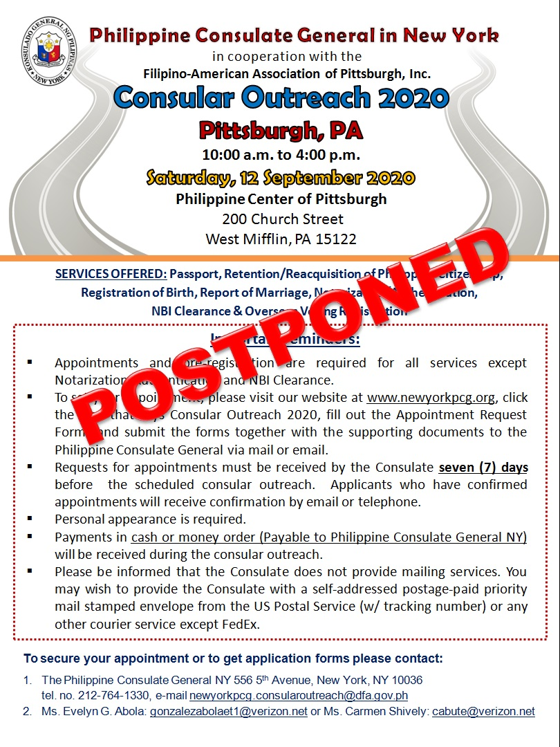 Postpones Pittsburgh Outreach