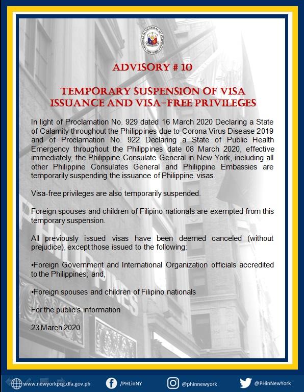 Advisory 10:  Temporary Suspension of Visa Issaunce and Visa-Free Priveleges
