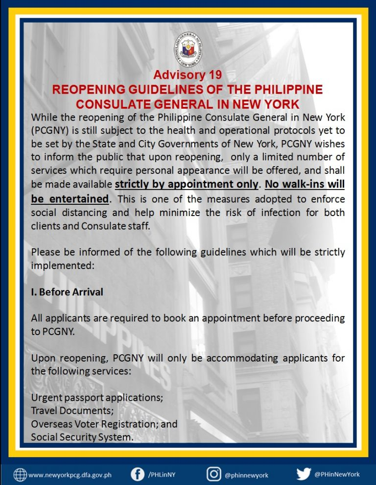 Advisory 19: Reopening Guidelines of the Philippine Consulate General in New York