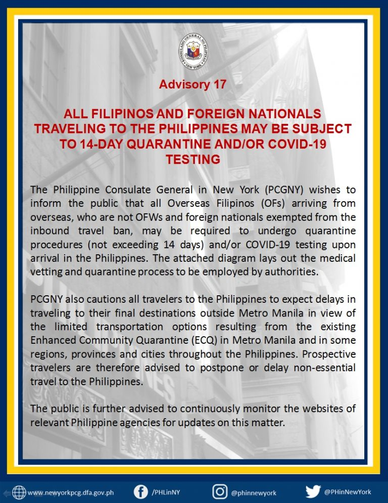 Advisory 17: All Filipinos and Foreign Nationals Traveling to the Philippines May be Subjected to Undergo 14-Day Quarantine and/or Covid-19 Testing
