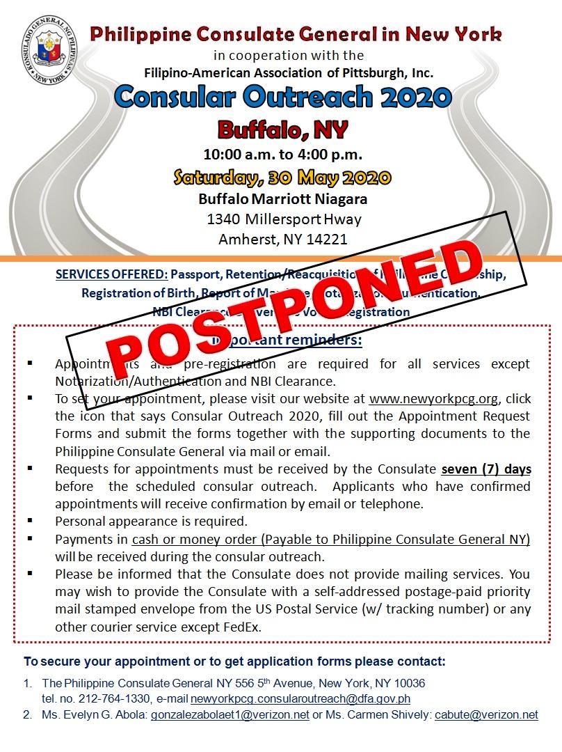Postpones Buffalo Outreach