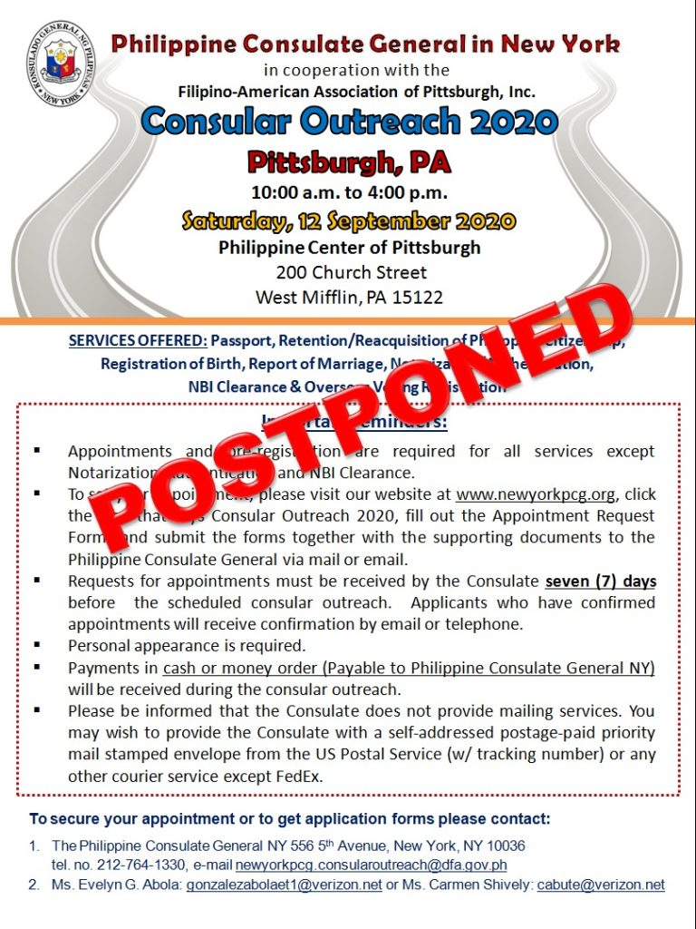 Postponement of Consular Outreach in Pittsburgh, PA