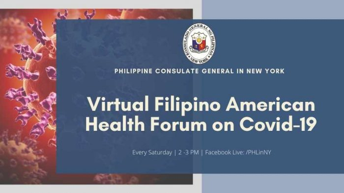 Virtual Fil-Am  Health Forum on COVID-19 is an avenue for the Filipino medical practitioners to inform the Fil-Am community about relevant topics related to COVID-19.