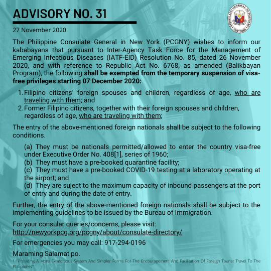 Advisory No. 31: Exemptions from the Temporary Suspension of Visa-Free Privileges