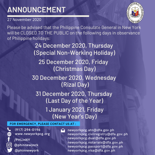 Holiday Announcement: 24, 25, 30, 31 December 2020 and 1 January 2021