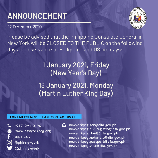 Holiday Announcement: 1 and 18 January 2021