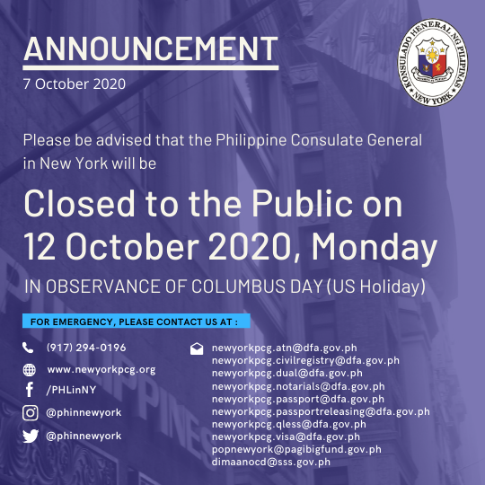Holiday Announcement, 12 October 2020, Monday