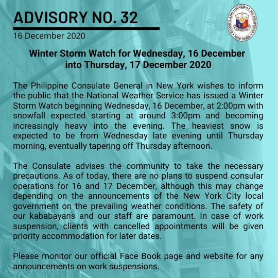 Advisory No. 32: Winter Storm Watch for Wednesday, 16 December into Thursday, 17 December 2020