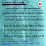 Advisory No. 3-2021: Important Amendments to PH Travel and Quarantine Restrictions