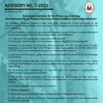 Advisory No. 7-2021: Operational Guidelines for the Processing of Arriving Non-Overseas Filipino Workers/Returning Overseas Filipinos and Foreign Nationals*