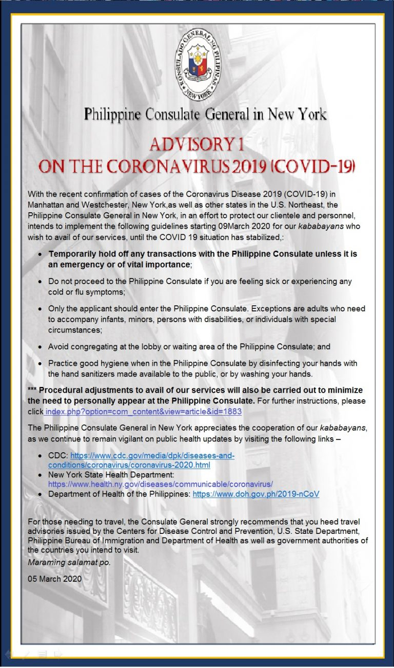ADVISORY #1 On the Coronavirus 2019 (Covid-19)