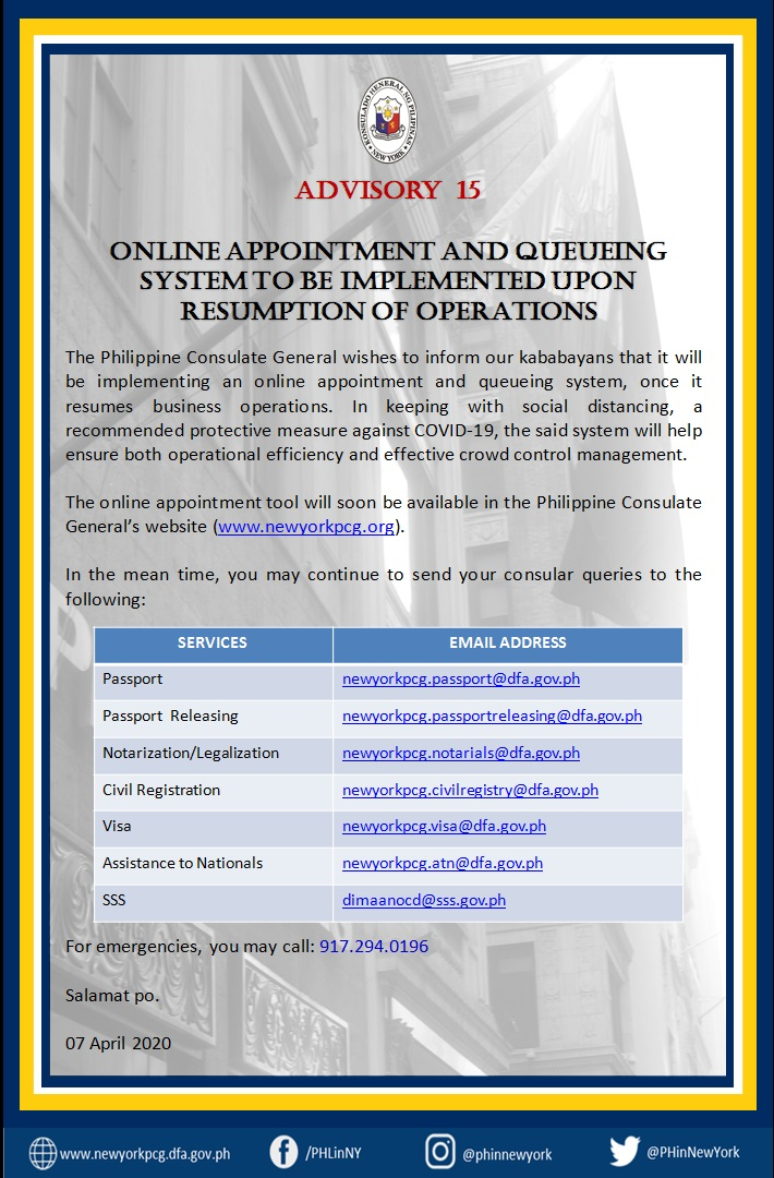 Advisory 15  Online Appointment and Queueing Systen to be Implemented Upon Resumption of Operations