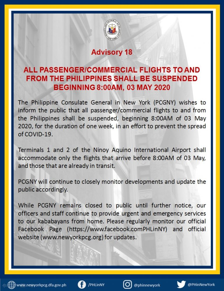Advisory No. 18: All Passenger/Commercial Flights to and from the Philippines Suspended Beginning 8:00am, 03 May 2020