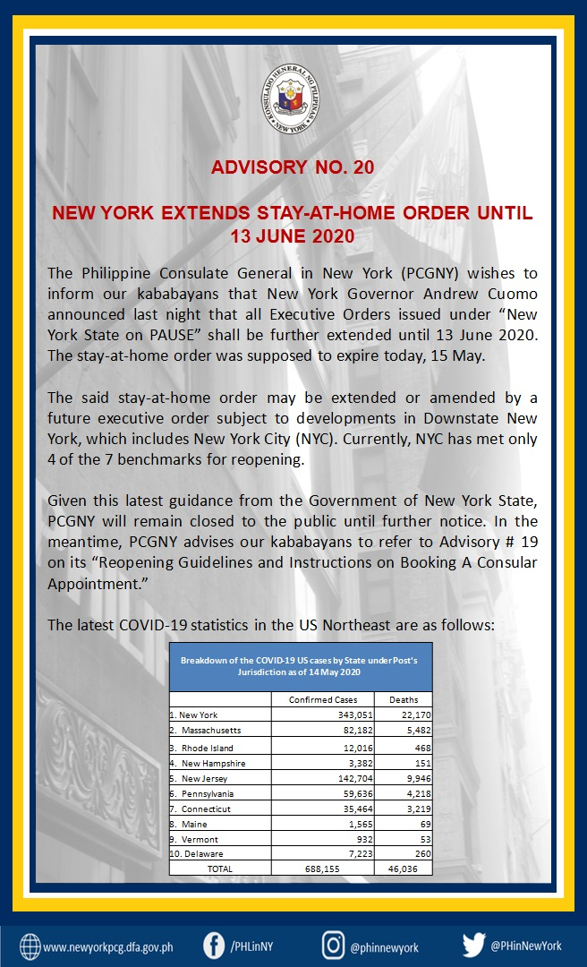 Advisory No. 20:  New York Extends Stay-at-home Order until 13 June 2020