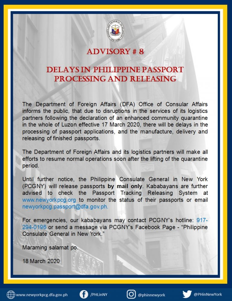 Advisory 8:  Delay in   Philippine Passport Processing and Issuance