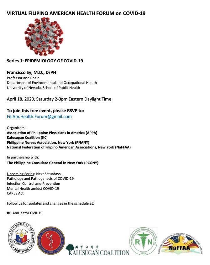 Virtual Filipino America Health Forum on COVID-19 Series 1: Epidemiology of COVID-19