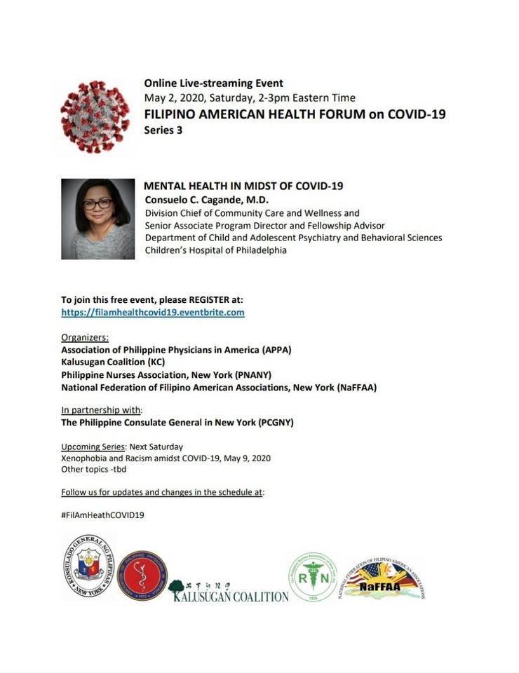 Virtual Filipino America Health Forum on COVID-19 Series 3: Mental Health
