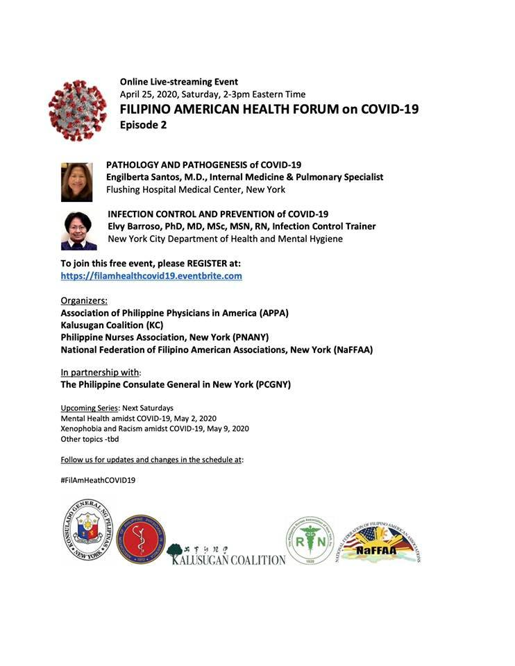 Virtual Filipino America Health Forum on COVID-19 Series 2: Pathology and Infection