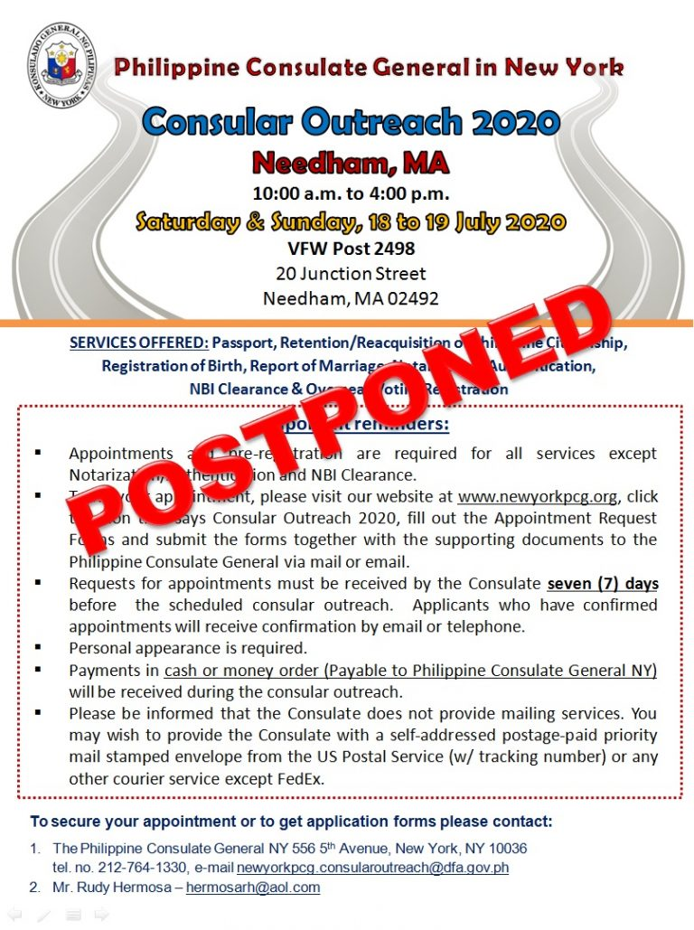 Postponement of Consular Outreach in Needham, MA