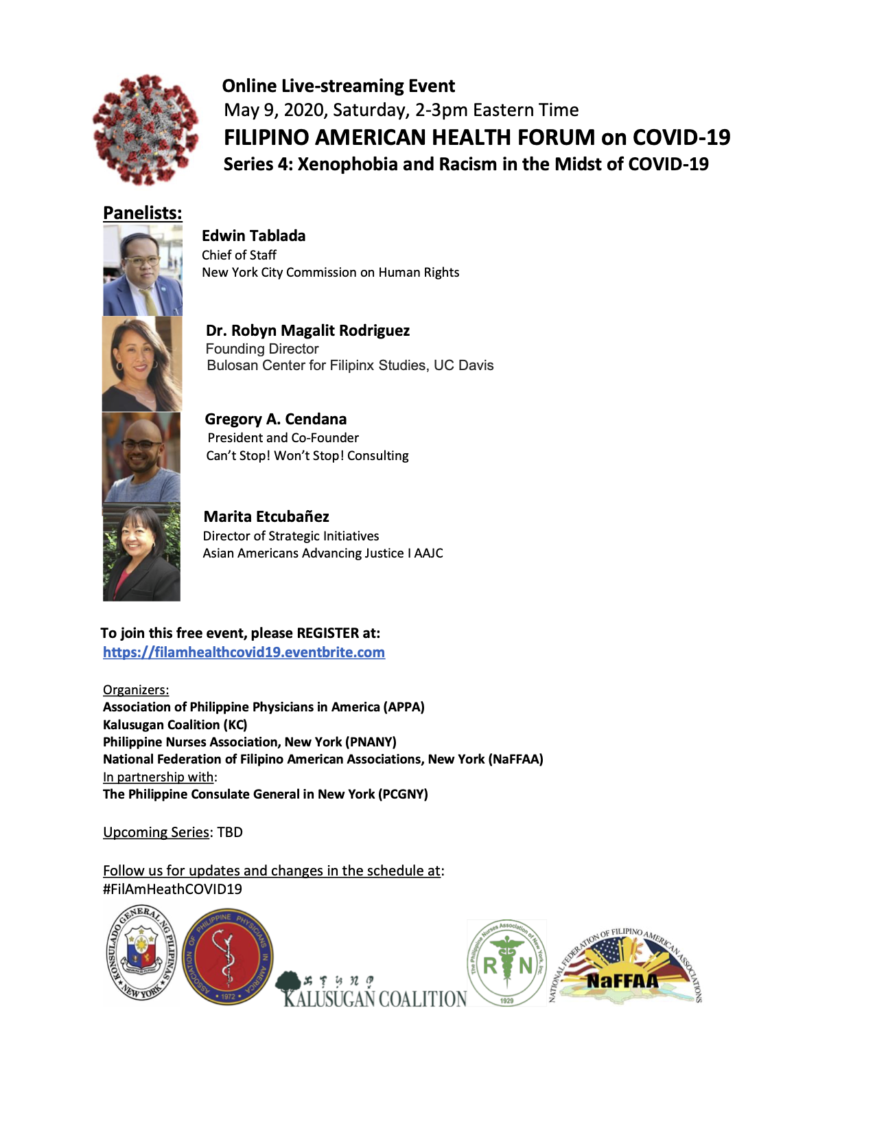 Virtual Filipino American Health Forum on Covid-19 Series 4: Xenophobia and Racism in the Midst of COVID-19
