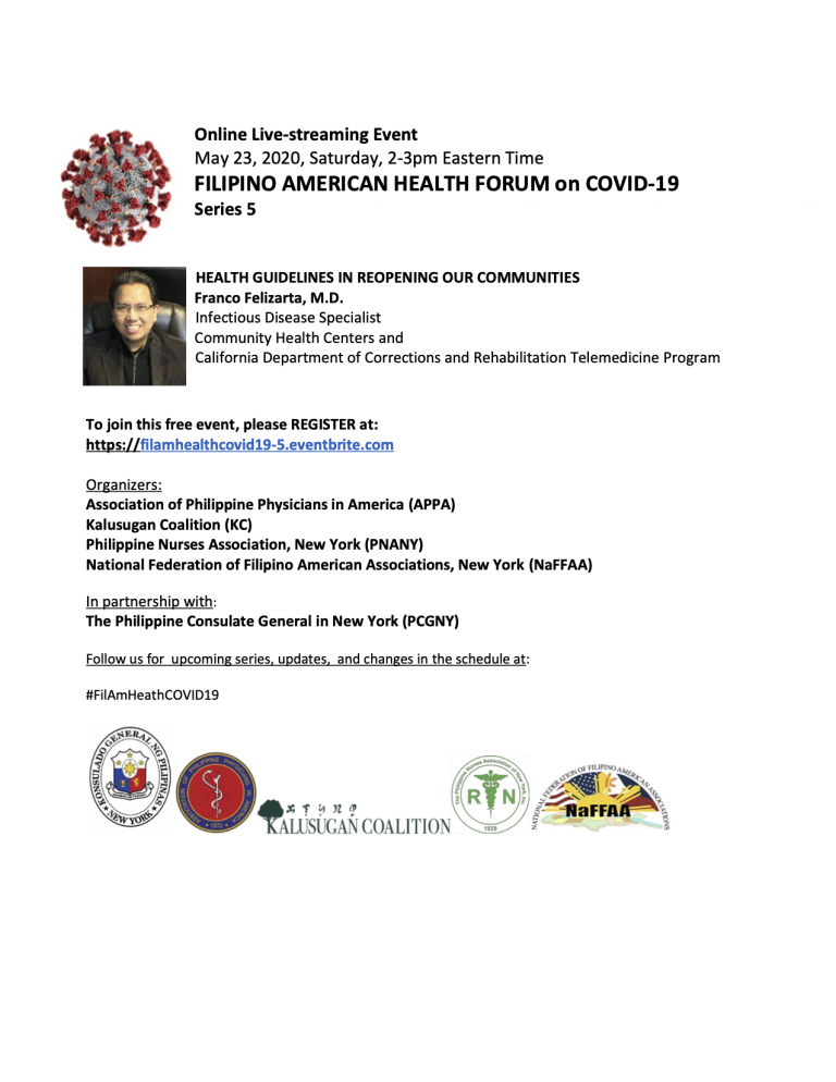 Virtual Filipino American Health Forum on Covid-19 Series 5: Health Guidelines in Reopening Our Communities