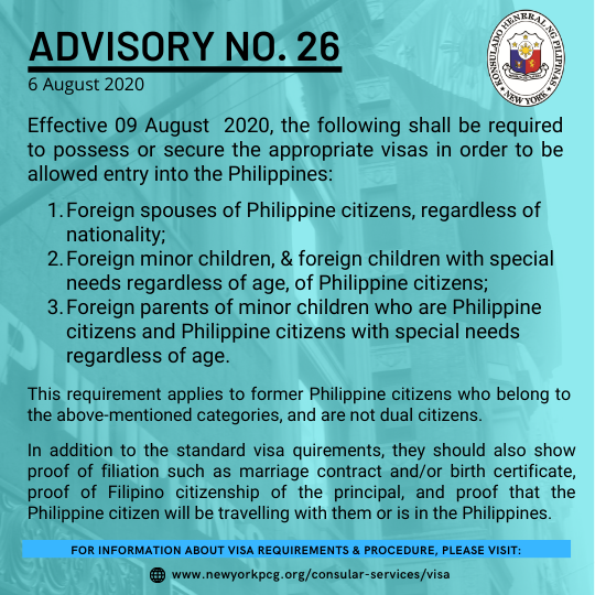 Advisory No. 26: Visa Requirements for Foreign Spouses / Children / Parents of Philippine Citizens