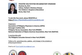 Virtual Filipino American Health Forum on Covid-19 Series 6: Pediatric Multisystem Inflammatory Syndrome