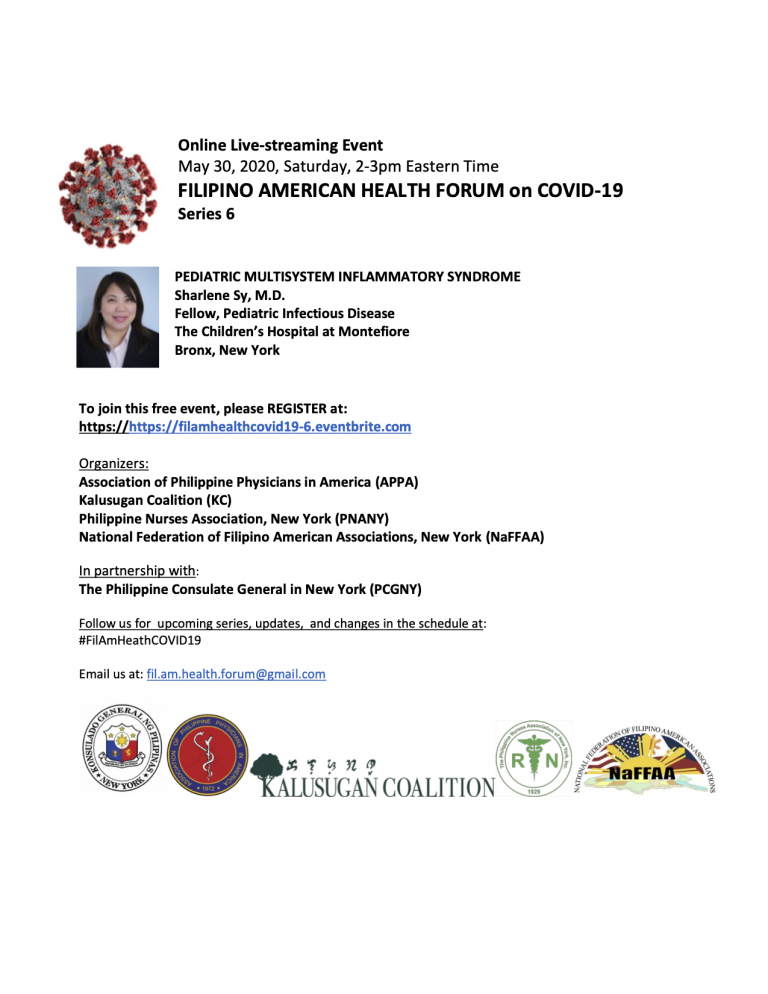 Virtual Filipino American Health Forum on Covid-19 Series 6: Pediatric Multisystem Inflammatory Syndrome