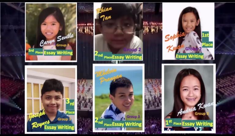 Winners of Tuklas Talino Essay Writing Contest (L-R, T-B) Caryn Seville, Rhian Tan, Sophia Kwan, Joseph Reynes, Mhelvin Prangan, and Andria Kwan (Photo by PCGNY)