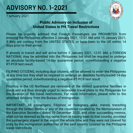 Advisory No. 1-2021: Public Advisory on Inclusion of United States in PH Travel Restrictions
