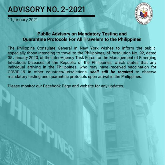 Advisory No. 2-2021: Public Advisory on Mandatory Testing and Quarantine Protocols For All Travelers to the Philippines