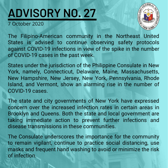 Advisory No. 27: Fil-Am Community in the Northeast Advised to Continue Observing Covid-19 Safety Protocols