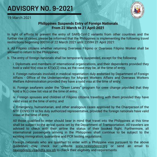 Philippines Suspends Entry of Foreign Nationals From 22 March to 21 April 2021