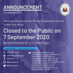 Consulate Closed to the Public on Monday, 7 September 2020