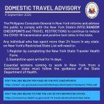 Domestic Travel Advisory, 4 September 2020