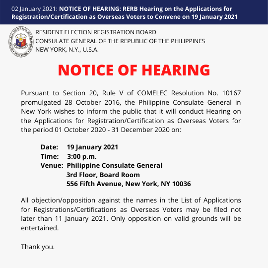 NOTICE OF HEARING: RERB Hearing on the Applications for Registration/Certification as Overseas Voters to Convene on 19 January 2021