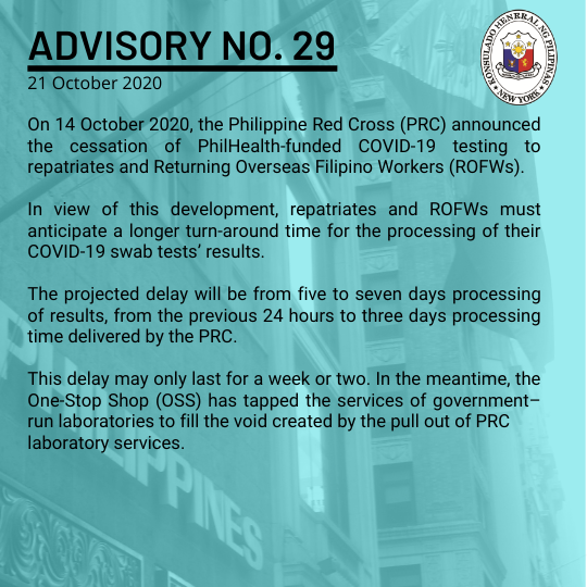 Advisory No. 29: Cessation of PhilHealth-Funded Covid-19 Testing in Favor of Repatriates and Returning OFWs