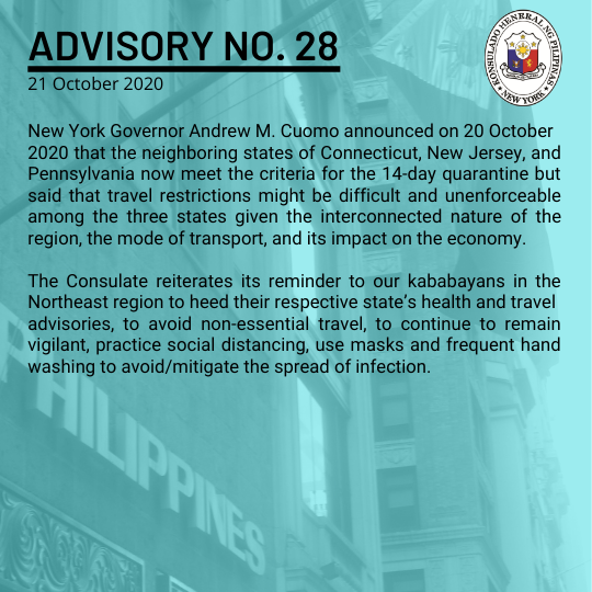 Advisory No. 28: NY Gov. Cuomo Urges Non-essential Travel to New Jersey, Connecticut and Pennsylvania as Covid-19 Cases Rise