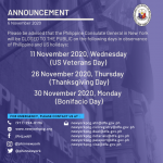 Holiday Announcement, 11, 26 and 30 November 2020