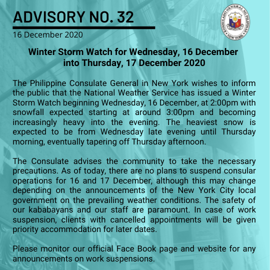 Advisory No. 32: Winter Storm Watch for Wednesday, 16 December into Thursday, 17 December 2020