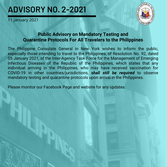 Advisory No. 2-2021: Public Advisory on Mandatory Testing and Quarantine Protocols For All Travelers to the Philippines
