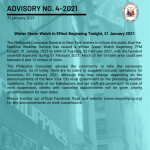 Advisory No. 4-2021: Winter Storm Watch In Effect Beginning Tonight, 31 January 2021