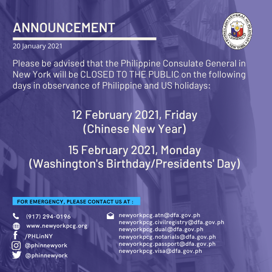 Holiday Announcement: 12 and 15 February 2021