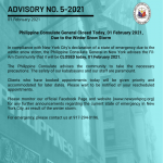 Advisory No. 5-2021: Philippine Consulate General Closed today, 01 February 2021,  Due to the Winter Snow Storm