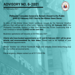 Advisory No. 6-2021: Philippine Consulate General to Remain Closed to the Public  Until 02 February 2021 Due to the Winter Snow Storm