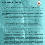 Advisory No. 8-2021: Updated Regulations on Entry Into the Philippines of Foreign Nationals