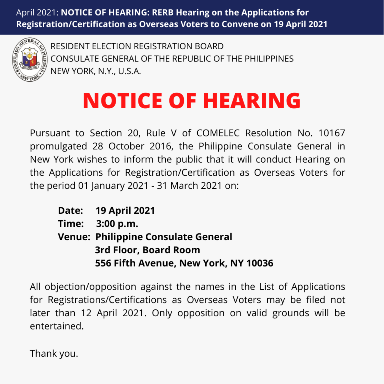NOTICE OF HEARING: RERB Hearing on the Applications for Registration/Certification as Overseas Voters to Convene on 19 April 2021