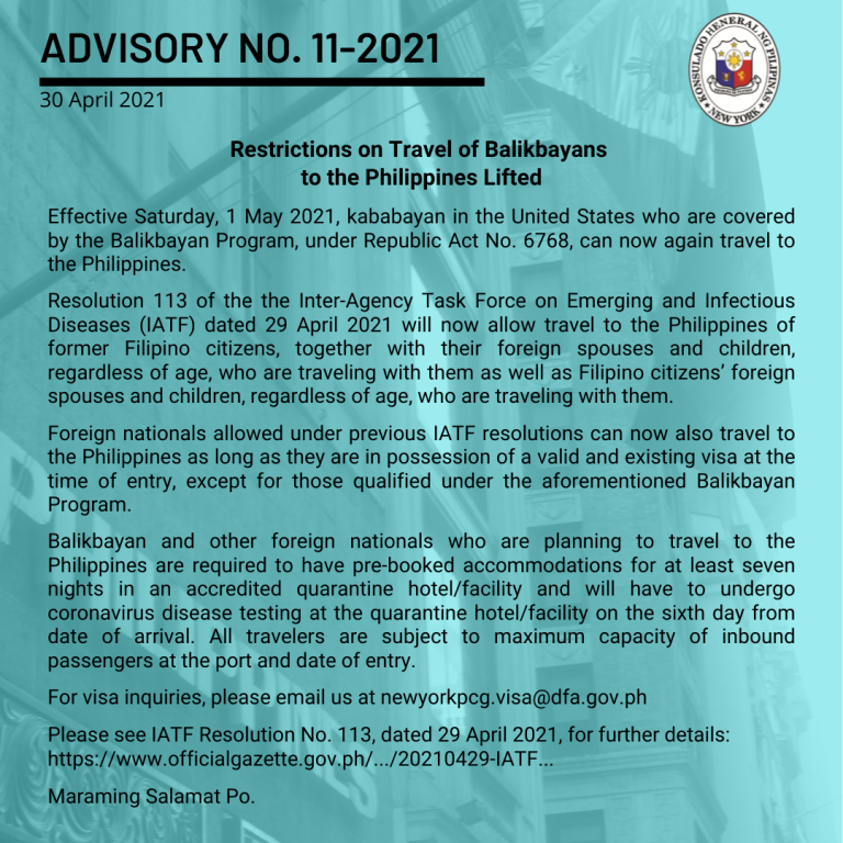 Restrictions on Travel of Balikbayans to the Philippines Lifted