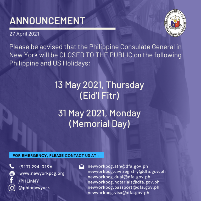 Holiday Announcement: 13 and 31 May 2021
